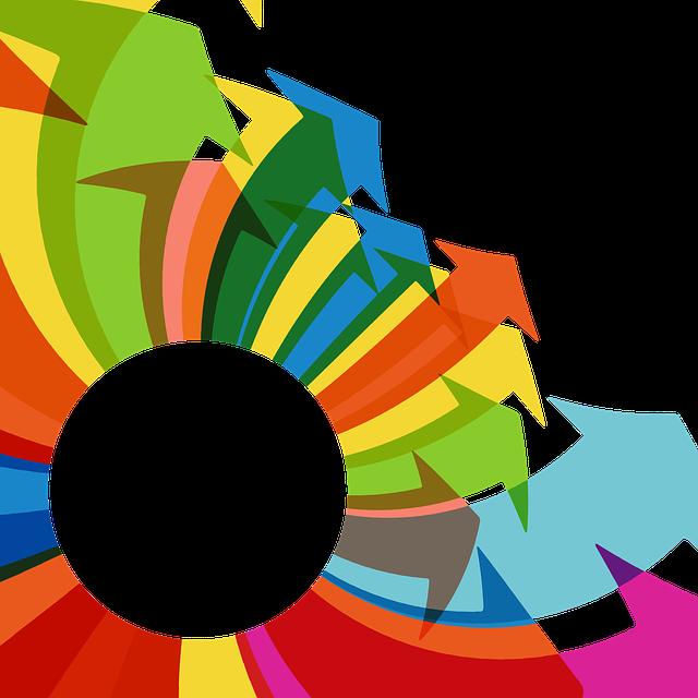 Serie di frecce colorate