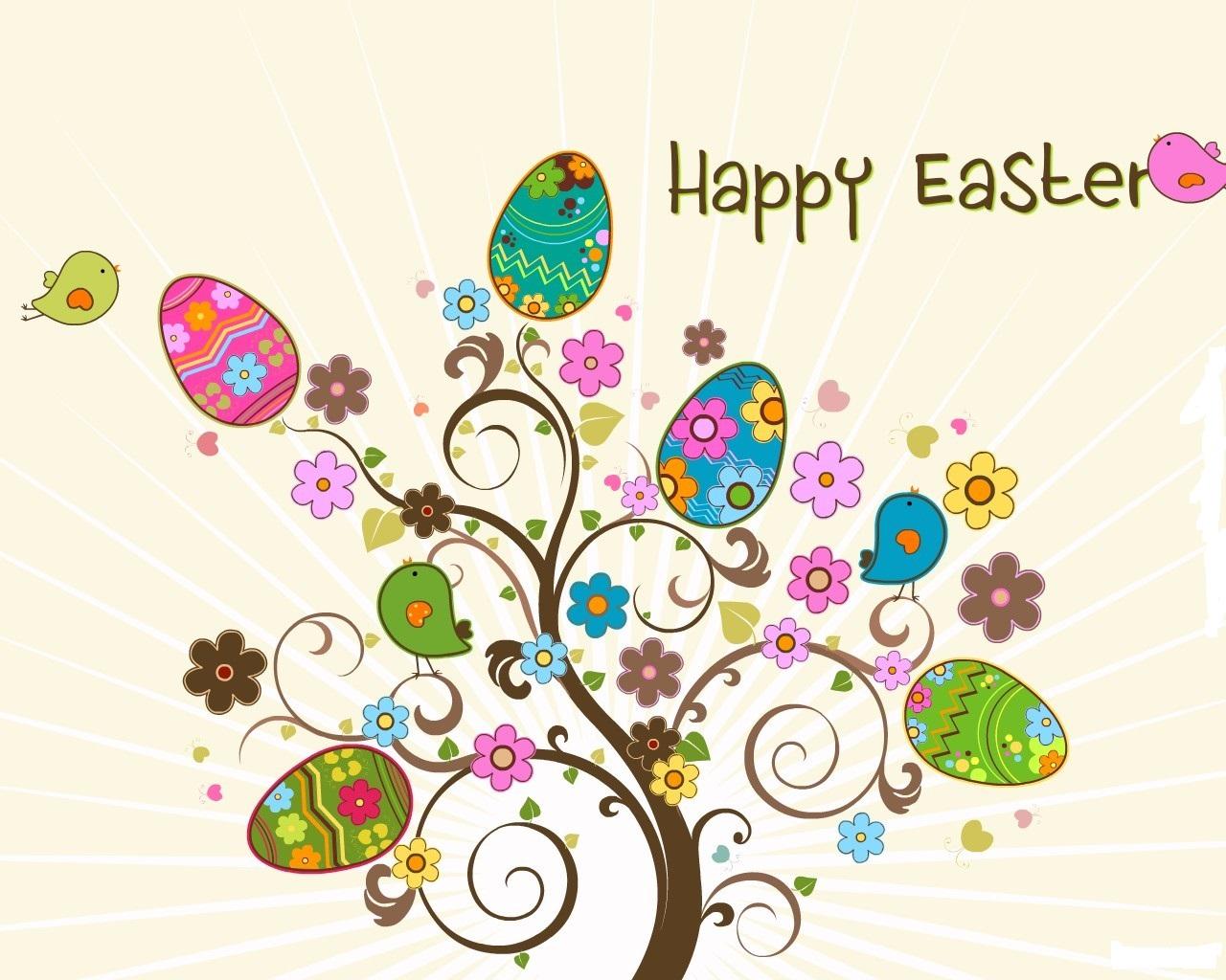 Alberello pasquale con uova decorate