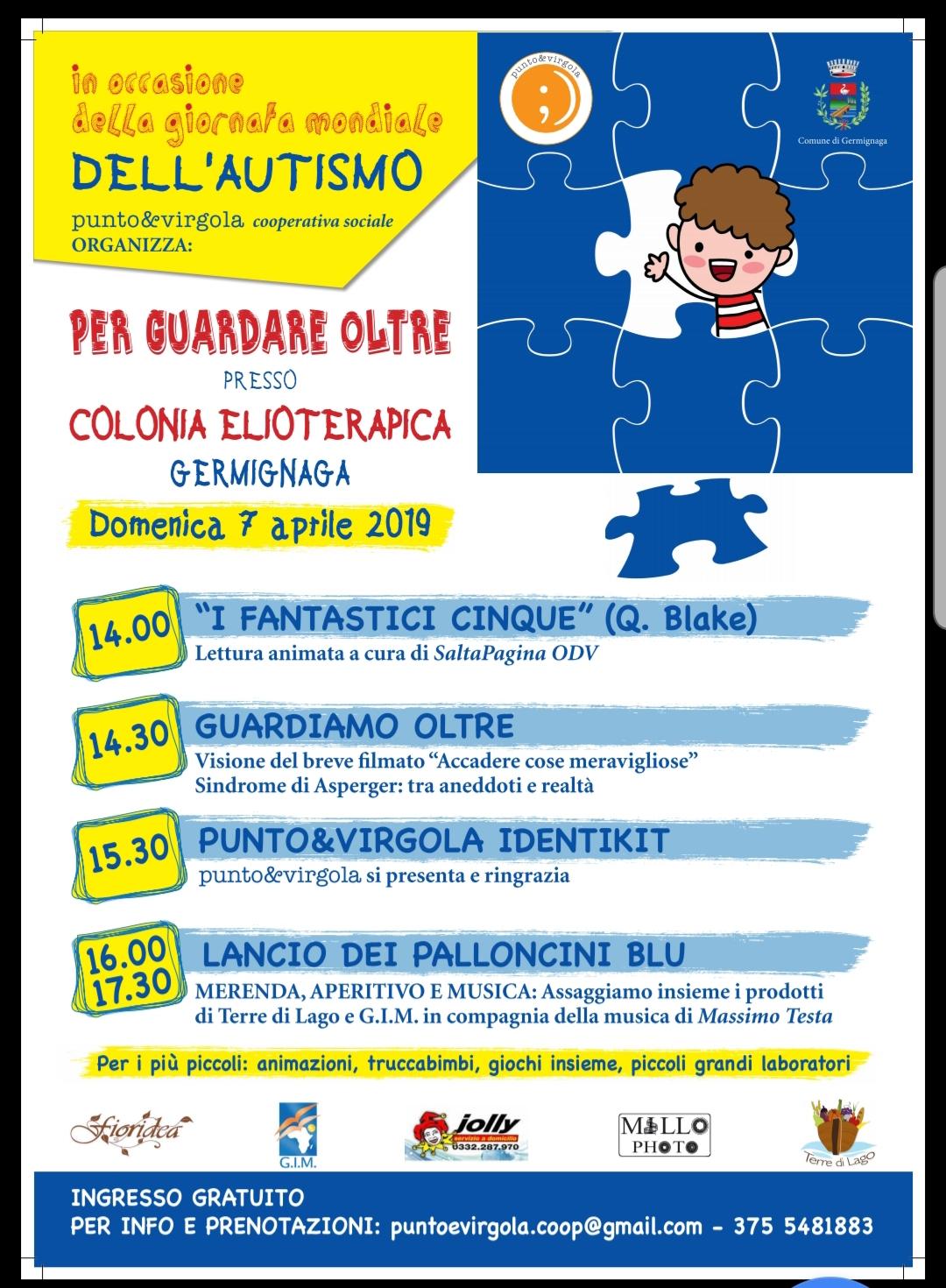 locandina evento a Germignaga per la giornata mondiale dell'autismo 2019